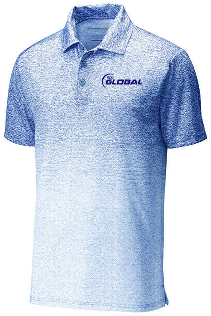 c3120ed0b 900 Global Men s After Dark Ombre Performance Polo Bowling Shirt White Royal