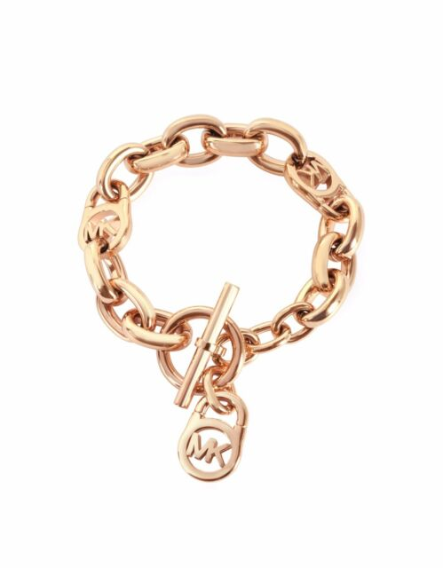 MKJ2752791 Michael Kors Logo Lock Rose Gold Toggle Bracelet Me309 eBay
