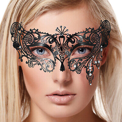 Delicate Venetian BLACK Lace METAL MASK Masquerade Filigree Clear Diamante NEW