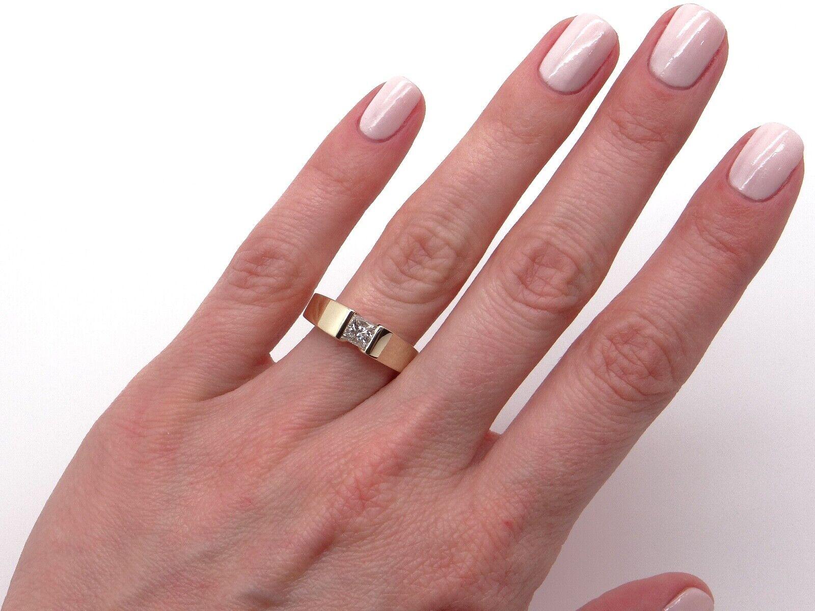 Unisex 14k Yellow Gold .54ct Princess Cut Diamond… - image 7