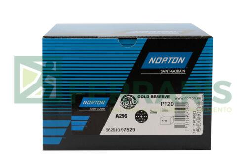 100 Dischi abrasivi Norton GOLD diametro 150 mm grana 120 15 fori carteggiatura