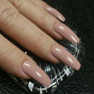 Details about 20 DUSTY ROSE Nude Beige Neutral Gel Polish Coffin Nails  PressOn ALL Skin Tones