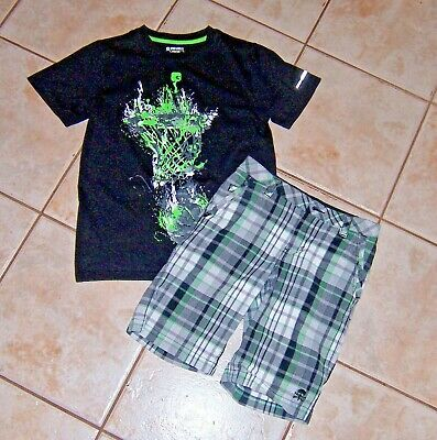 American Hawk Baby Boys Crewneck T-Shirt and Plaid Short Set