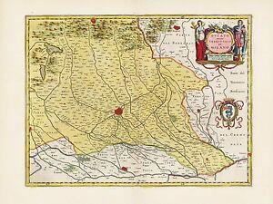 Old Vintage Milan Region Milan Italy decorative map Blaeu ca. 1655 ...