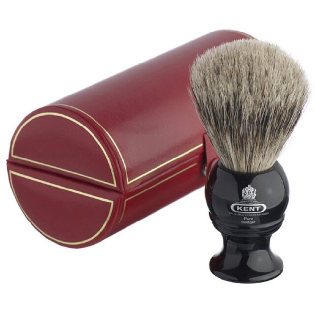 Kent BLK2 Medium Pure Grey Badger Shaving Brush - Black - Made in England