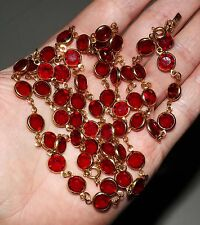 "Vintage SWAROVSKI 1/20 12K Gold Red Bezel Set 37"" Necklace - AUTHENTIC, GORGEOUS"