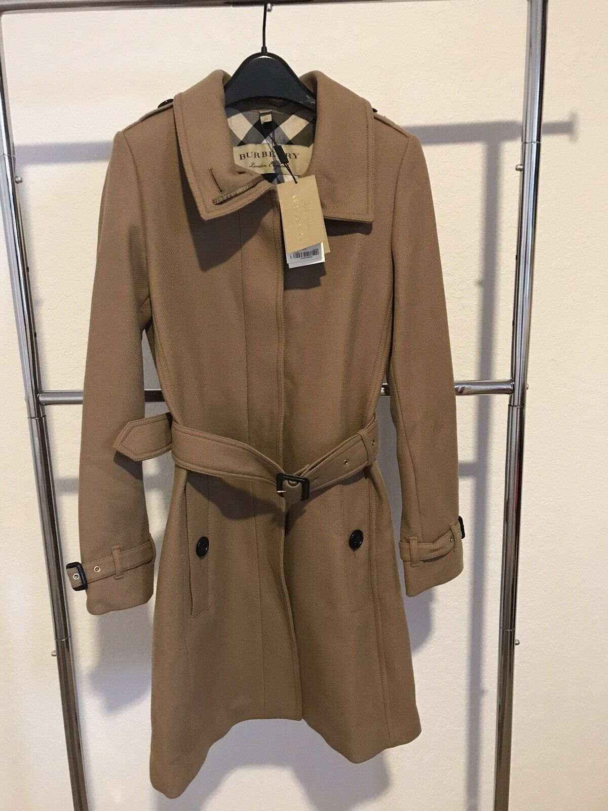 Burberry Woman's Gibbsmooresl Wool Blend Trench Coat. Camel. Sz 04 US.New w/Tags