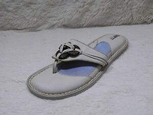423dbea5e0afaa Born Beaded Thong Sandals Womens Size 10 White Slip On Casual Summer ...