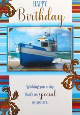 Happy Birthday Card Envelope Suitable For Any Age Male Boat Theme Brand