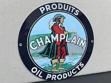 Champlain gasoline Oil RARE vintage round metal  sign reproduction