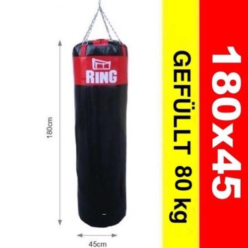 Profi Boxsack  Gefüllt 80 kg 180x45 cm Schwarz-Rot