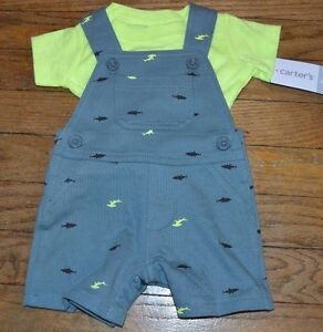 6e2c8358e Carter s 3 Month Shark Overalls and Short Sleeve Shirt CUTE Baby Boy ...