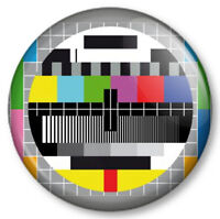 "TV TEST CARD HD 25mm 1"" Pin Button Badge Retro Vintage Geek Nerd Fun Novelty"