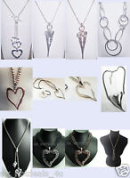 Large abstract metal heart pendant and long leather necklace silver lagenlook