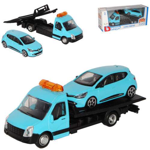 Autotransporter mit Renault Clio IV Blau 5 Türer Typ X98 Ab 2012 1//43 Bburago ..