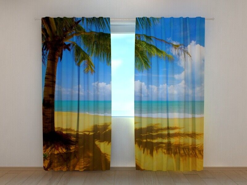3D Window Curtain Printed with Hot Summer Image Wellmira Made to Measure