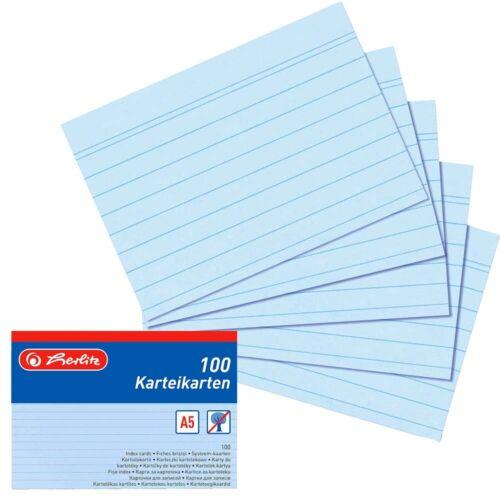 Herlitz Karteikarte A5 liniert//kariert//blanko Lernkarteikarten Register A5 A-Z