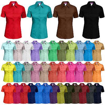 NE PEOPLE Women's 34 Color Basic Tailored Short Sleeve Button Down Shirt -NEWT06