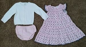 NWT CARTERS GIRLS NEWBORN /& 3 MONTHS PINK DRESS SWEATER AND DIAPER COVER SET