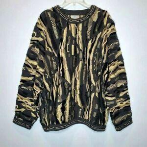 Vintage 90s COOGI Australia Herren XL strukturiert 3d Pullover Biggie Bill Cosby Camo Farben