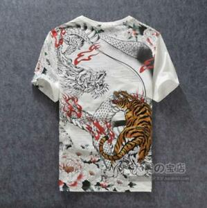 Casual-Summer-Floral-Mens-Shirt-Ethnic-Chinese-Embroidery-Tops-Cotton-T-Shirt-Sz