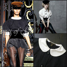 RARE Louis Vuitton Black White Peter Pan Collar Blouse Shirt Size FR34 XS US2 4