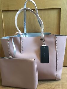 5e7b0484cc2 Image is loading ZARA-REVERSIBLE-STUDDED-TOTE-BAG-pink-silver-new-