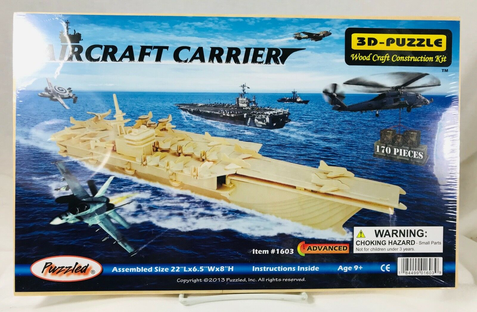 3D Puzzle Aircraft Carrier  1603 Natural Wood 170 pc Advanced Age 9+ 2013 NIP