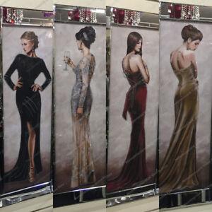 Figurative-ladies-red-black-gold-dresses-with-crystals-liquid-art-amp-mirror-frames