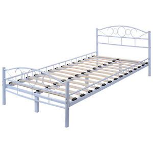 twin size wood slats steel bed frame platform headboard footboard bedroom white ebay. Black Bedroom Furniture Sets. Home Design Ideas