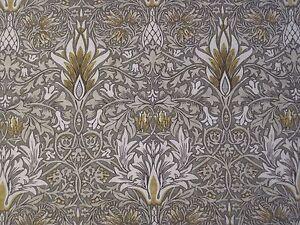 WILLIAM-MORRIS-CURTAIN-FABRIC-034-Snakeshead-034-1-METRE-PEWTER-GOLD-DM3P224468