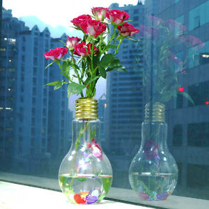 The Clear Light Bulb Shape Stand Plant Flower Vase Hydroponic Container Bottle