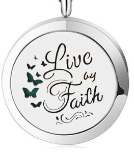 Live By Faith, Diffuser Necklace Locket Stainless Still, 10ml Oil, 11 pads.