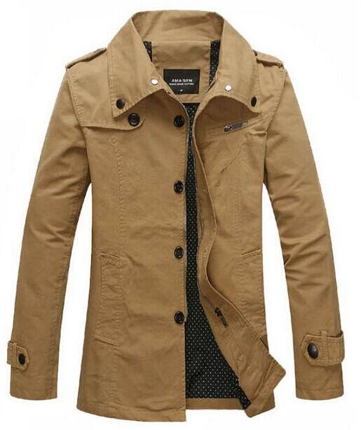 Férfi Zip brit divat széldzseki Tiszta pamut árokban Casual Jacket Outdoor Hot