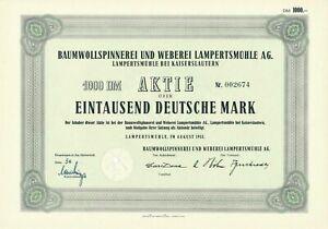 Baumwollspinnerei-und-Weberei-AG-Lampertsmuehle-Kaiserslautern-Aktie