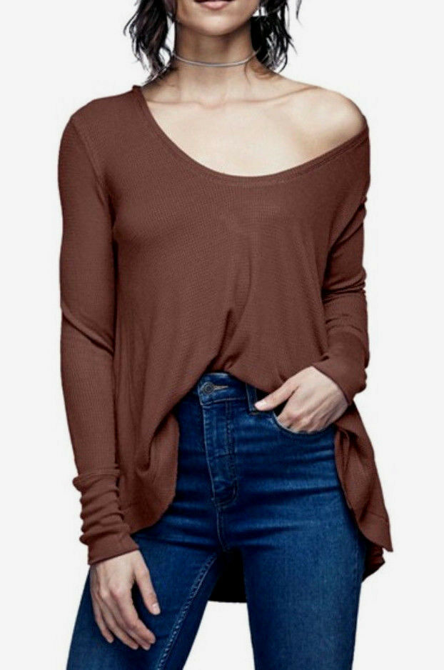 Free People OB521805 Malibu High-Low Long Sleeve Thermal Top in Fig braun S