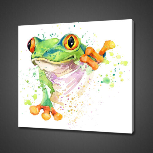 CUTE FROG WATERCOLOUR PAINTING STYLE CANVAS PRINT WALL ART PICTURE PHOTO