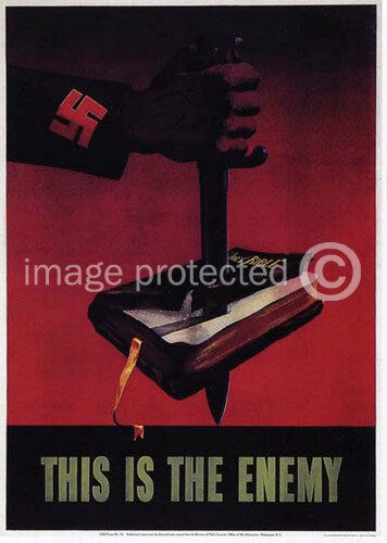 Stabbed Bible This Is The Enemy WW2 US Military Propoganda  Vintage 11x17 Poster