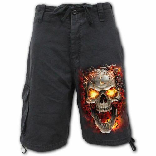 Spiral Direct Skull Blast Vintage Short Cargo Noir//skull//goth//Cadeau//DARKWEAR
