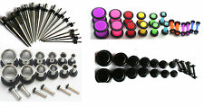 72pc Steel Color Ear Stretching Kit gauges tapers plugs 00g 2g 4g 6g 8g 10g 14g