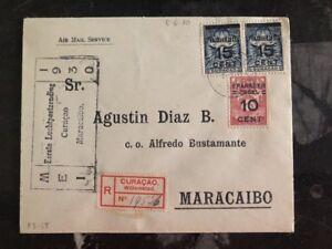 1930 Curacao Premier Vol Poste Aérienne Housse Ffc à Maracaibo Venezuela