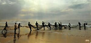 Panoramic-Vintage-Africa-Postcard-Fishing-scene-in-the-Setting-Sun-OS241