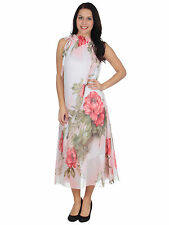 Women's Boho Maxi Summer Dress in Floral Print w/ Frilly High Collar