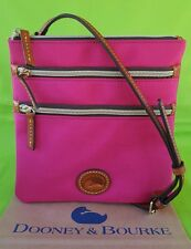 Dooney & Bourke  North/South Small Nylon  Triple  Zip Crossbody Bag in Pink.