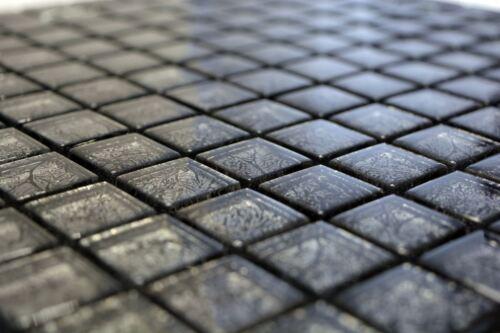 Mosaik Fliese Transluzent Glasmosaik Crystal schwarz 126-8BL17/_f 10 Matten