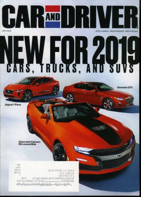 Car And Driver Magazine September 2018 Jaguar I Pace Chevrolet Camaro Ss Genesis