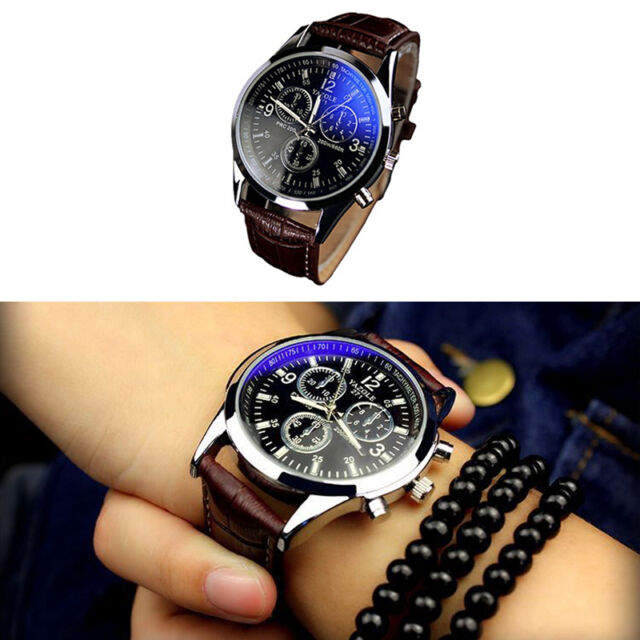 Vintage Men's Stainless Steel Blue Screen Dial Leather Business Quartz Watch