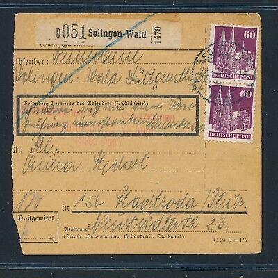 Rotem L3 ! Paketkarte Ab Solingen-wald 1950 Mef 2x 60pf Bauten Hell Und Durchscheinend Im Aussehen Streng 26146