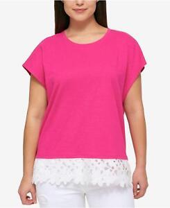 832236807 NEW(MY8548-50)Tommy Hilfiger Plus Lace-Hem Knit Cotton Top Hibiscus ...