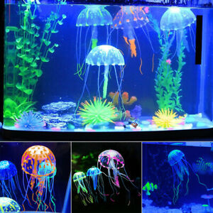 Details About Glowing Effect Aquarium Silicone Fake Fish Tank Floating Jellyfish Ornament